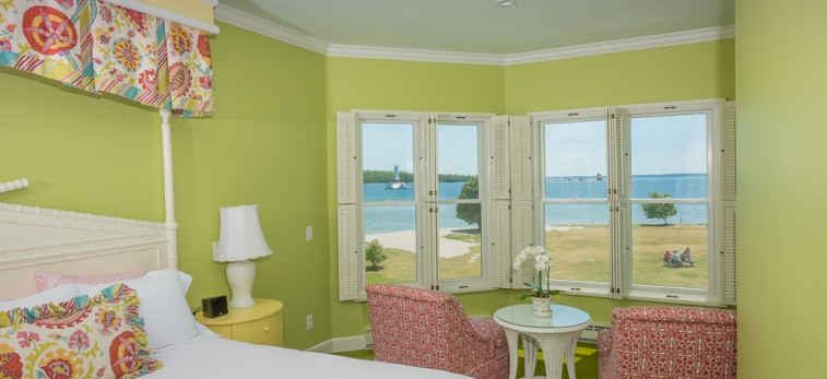 lime green room with ocean view