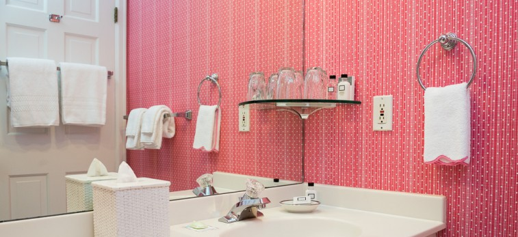 bathroom with pink walls, sink and mirror