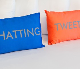 blue and red novelty pillows