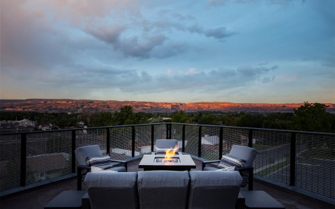 firepit on rooftop with seating