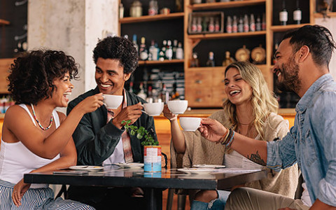 group of friends enjoying coffee