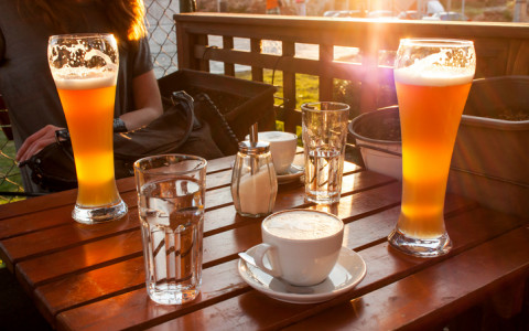 coffee and beer on a table