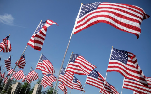 american flags at a memorial
