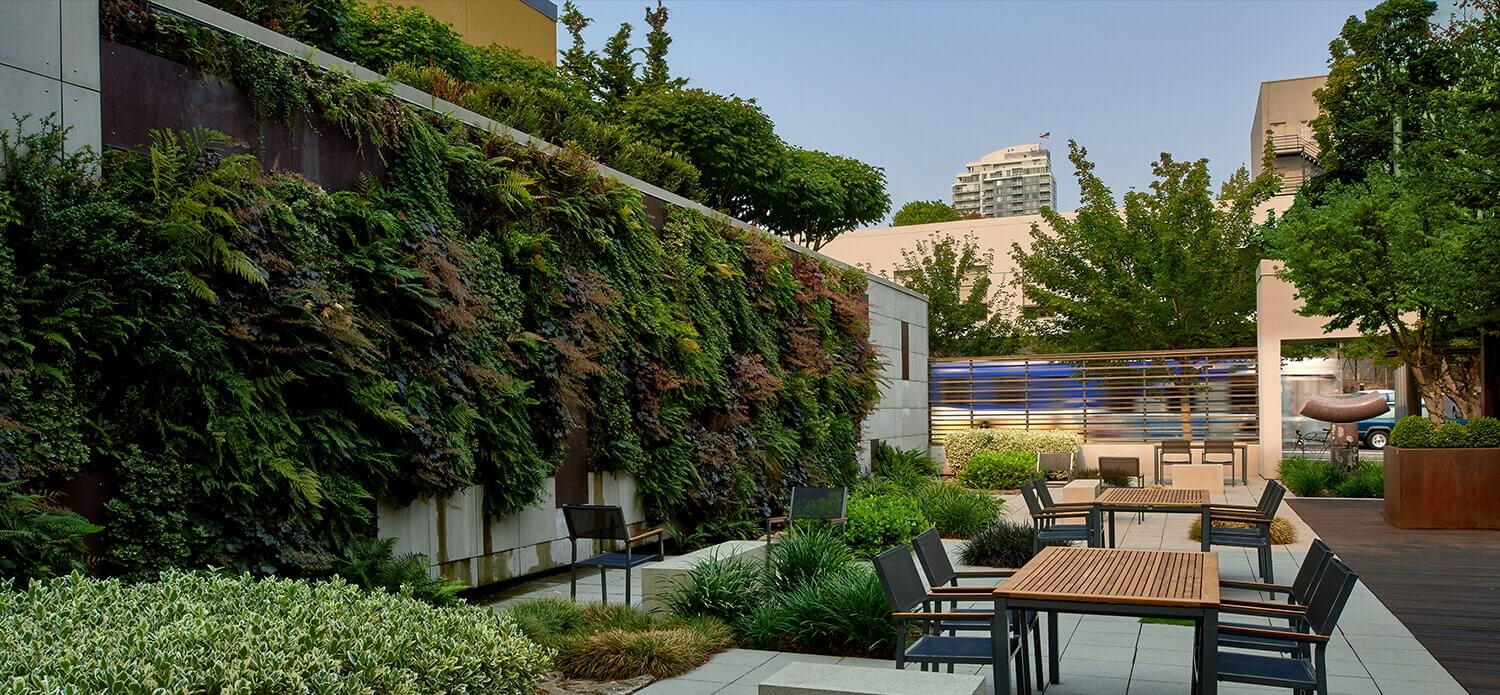 courtyard on property with table and living green wall