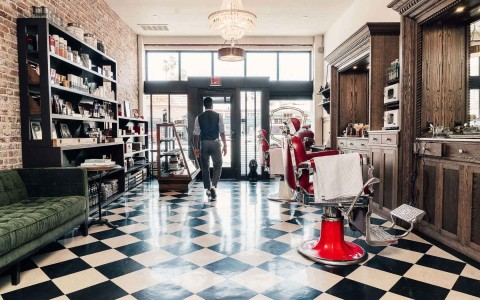 Barber shop with checkered floors