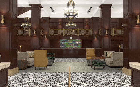 lobby entrance area with a patterned black and white floor, check in desk, dark wood accents with mustard yellow, emerald green, and tan accent colors