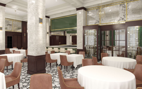 hotel dining area with black and white patterned tile floors, white table cloths with brown chairs, and bar area and private dining room