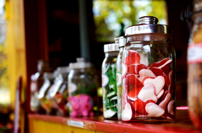 Candies in jars on a shelf