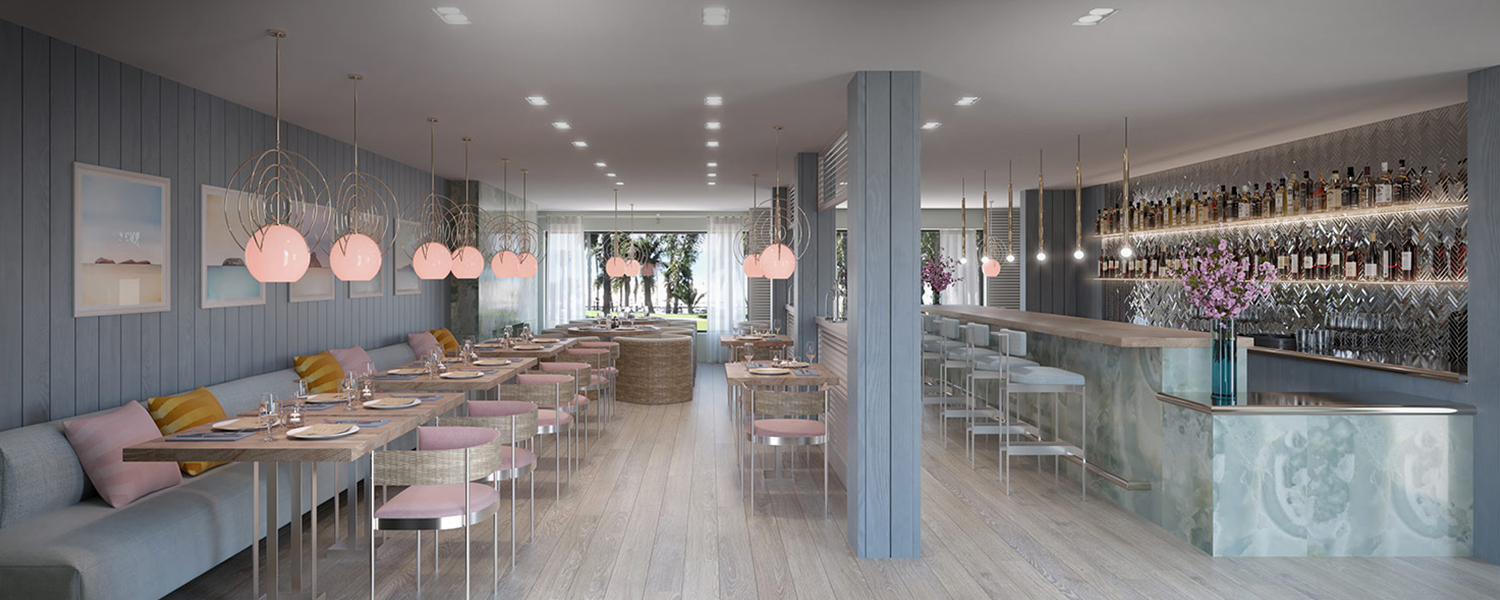 modern dining area with light pink hanging lights, bench seating with tables and chairs in front and a bar area