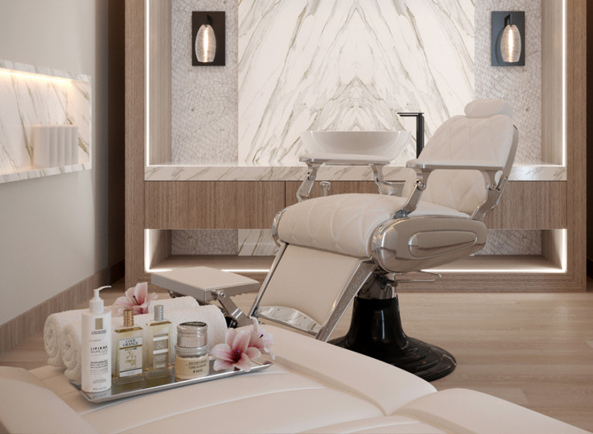 a tray of spa treatments with a reclining chair in the back