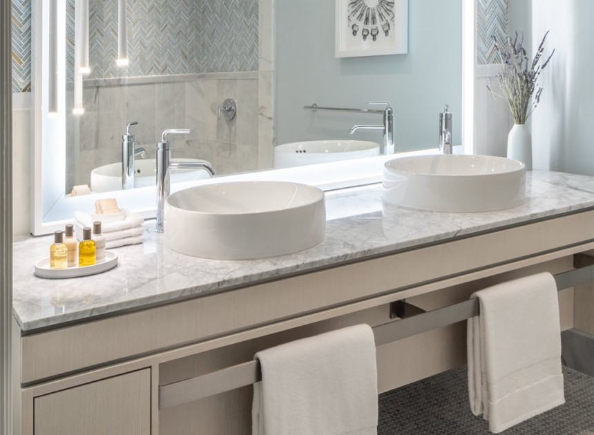 modern vanity with double sinks