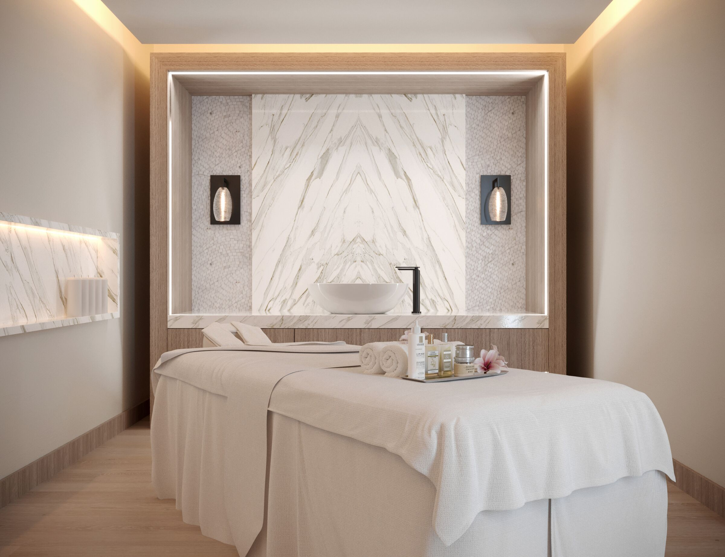 spa treatment room with white towels