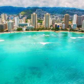 aerial view of hawaiian ocean front buildings