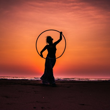 Hula Girl in Sunset