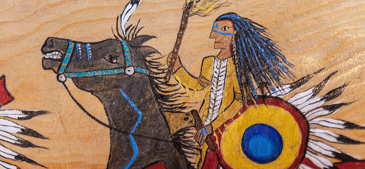 drawing of native american riding a horse