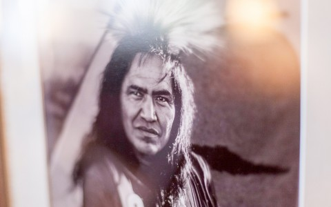 black and white photo of a native american