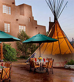 courtyard with table and a teepee
