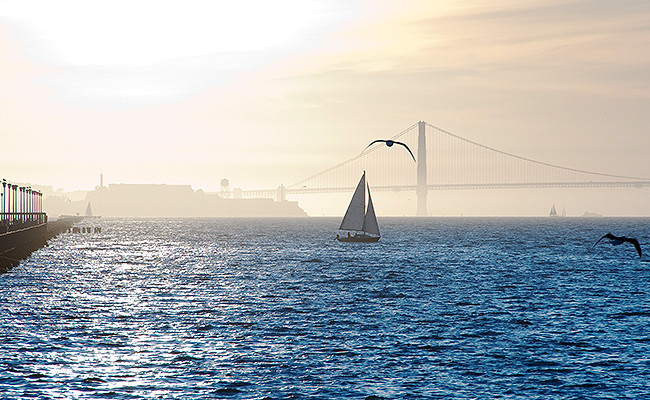 sailboat in the water at dusk with the golden gate bridge in distance