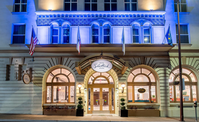 Entrance of hotel with blue lighting