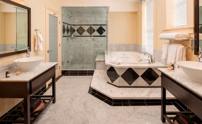 Guest bathroom with marble bathtub