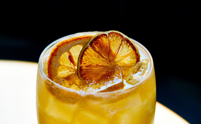 orange drink with orange garnishes