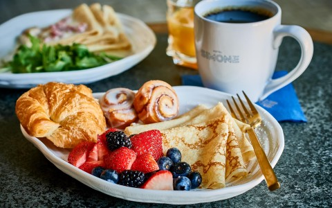 crepes, croissants and fruit