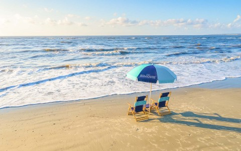 parasol with chairs at beach