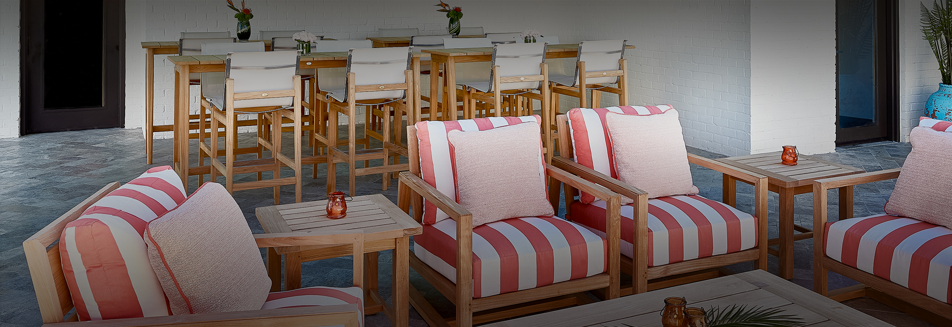red and white stripped chairs