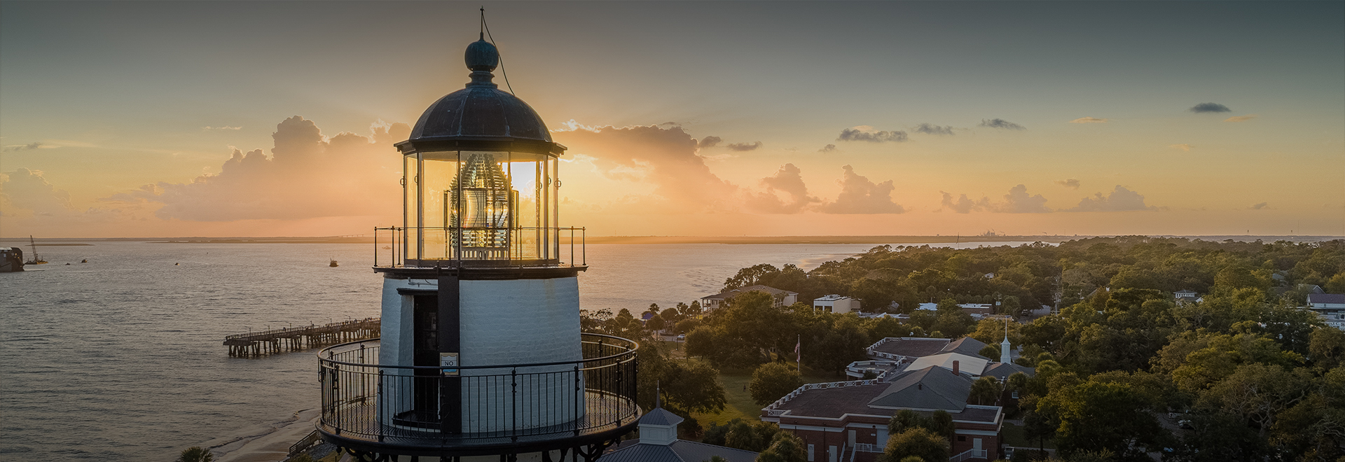lighthouse with sunset view