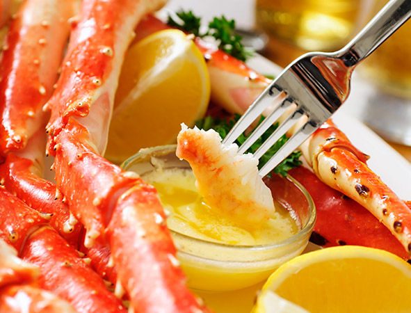 lobster dipping in butter