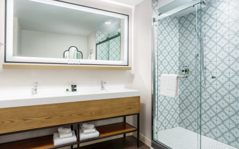 hotel with glass shower doors and white counters