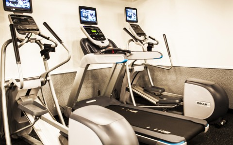 treadmills and ellipticals at the gym