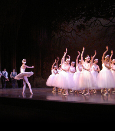 Ballerinas in costumes performing on stage