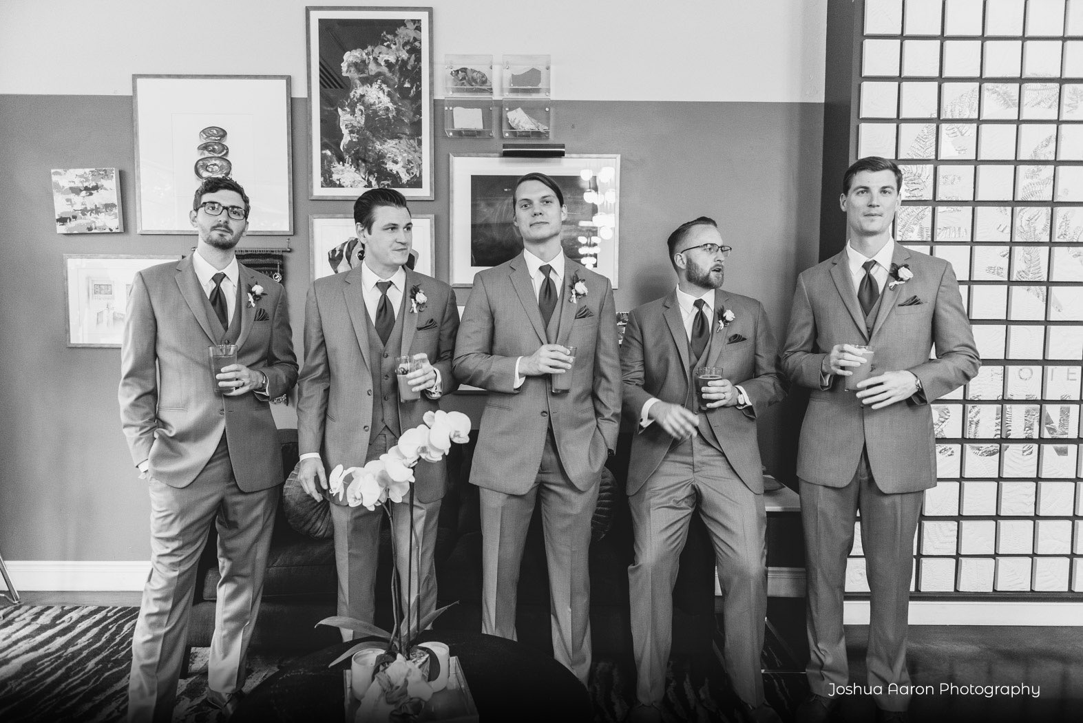 groomsmen posing for a photo