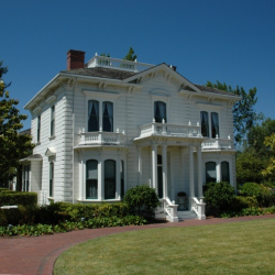 Exterior View of the Rengstorff House with manicured lawn