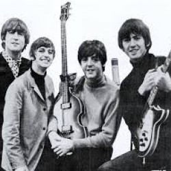 Black and white picture of The Beatles