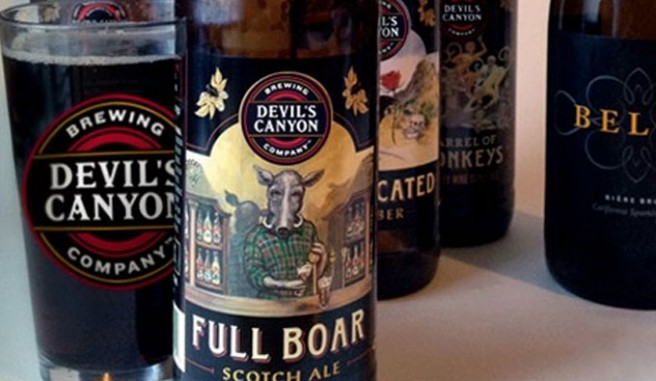 Devil's Canyon Brewing Company beer bottles and glass