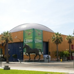 museum exterior with large horse bronze sculptur