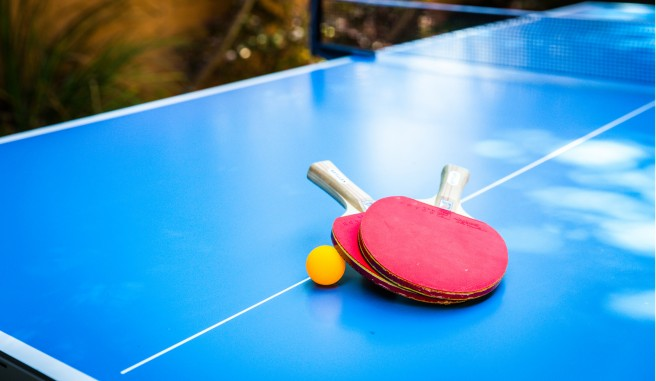 ping pong table and paddles
