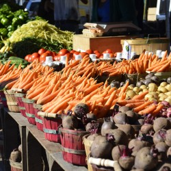 farmers market with fresh vegetables on display