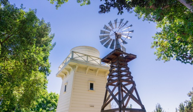 wooden water tower at the rengstorff house