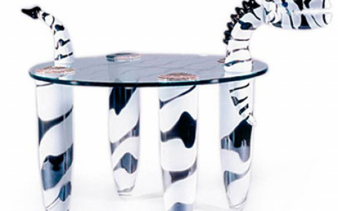 Borowski Glass Zebra Side Table