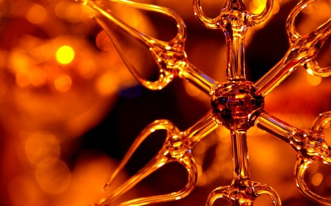 Glass Star Ornament with Holiday Lights