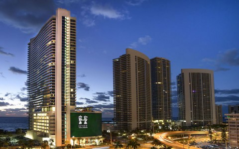 Hyde Resort and Residences at Hollywood Beach, exterior shot at dusk