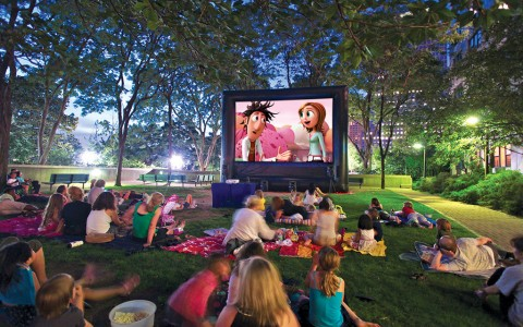 Projection movie in the park