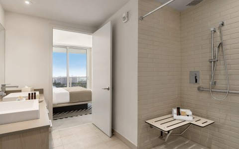 Bathroom with accessible shower seating and bar