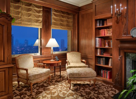 a guest suite with a library