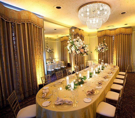 a banquet room set for dinner