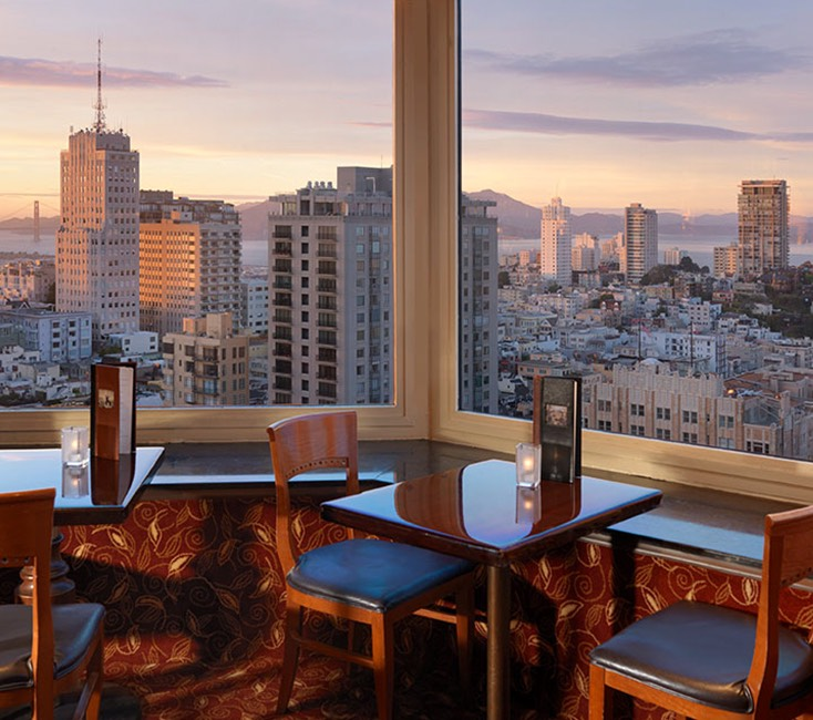 dining area with view of the city skyline