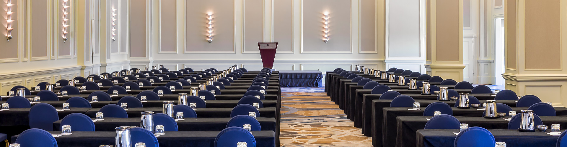 Meeting space ready for a conference header